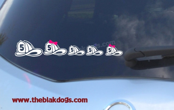 Firefighter helmet family stickers personalized sticker vinyl sticker car decal fireman sticker