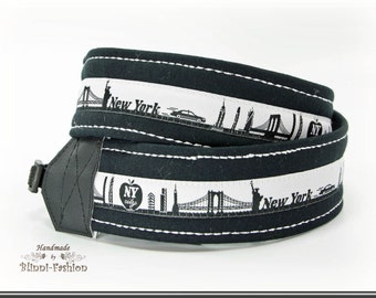 Camera strap, DSLR, SKYLINE, black & white camerastrap, different citys to choose