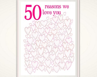50th Birthday Gift for Women - 50th Birthday Poster, PRINTABLES, Party Decorations, 50th Birthday Gift Ideas, 50 th Birthday, Fiftieth, DIY