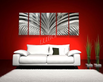"""64x24"""" metal wall decor unique art elegant sculpture colour light reflective silver grind aluminum Original hand made SILVER WINGS by Lubo"""