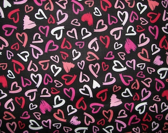 Lipstick Hearts cotton fabric - black with hearts drawn in shades of red and pink -  Timeless Treasures - YARD