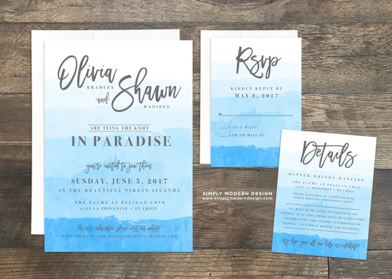 When To Send Out Wedding Invitations For Destination Wedding: Destination Wedding Invitation Set Beach Wedding Ombre