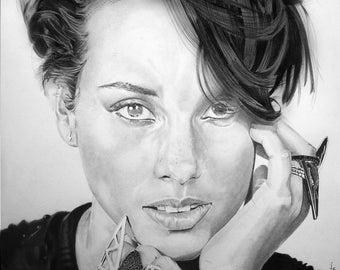 Original drawing of Alicia Keys