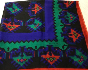Vintage OSCAR DE la RENTA Scarf Wrap Shawl Wool Scarf Japan Aztec Blue Red Green