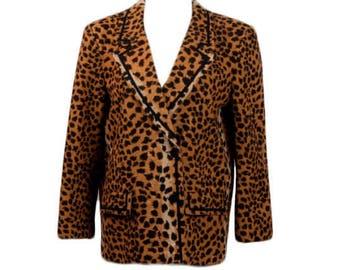 1960s 70s Felice Westfield NJ Leopard Cheeta Animal Print Ultra Suede Women's Vintage Blazer Jacket Coat