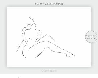 Sitting nude art print. A4 wall art for bedroom. Thin lines drawing. Nude sketch. Female nude.