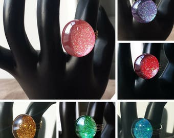 Glitter Glass Gem Rings in colors Pink, Purple, Red, Blue, Green and Gold, Glitter Cocktail Rings with adjustable bands
