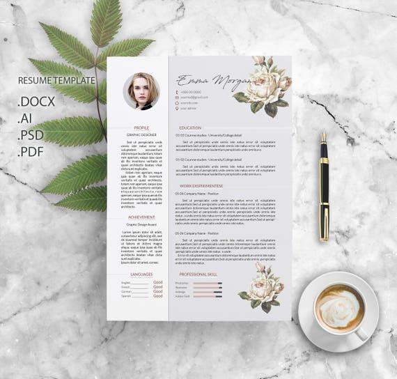 sale 20  off    flower resume template    cv template