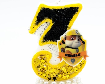 Rubble paw patrol / Paw patrol invitation / Paw patrol birthday / Paw patrol candle / Paw patrol candles / Rubble candle / Paw patrol topper