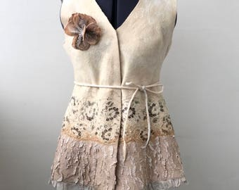 "Nuno Felted jacket , Felted Vest, Felt Clothes,romantic,floral ornament ""Golden"""