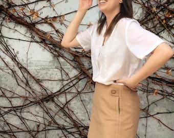 Vintage 1990's J Crew Wool/Cashmere Blend Beige Mini Skirt