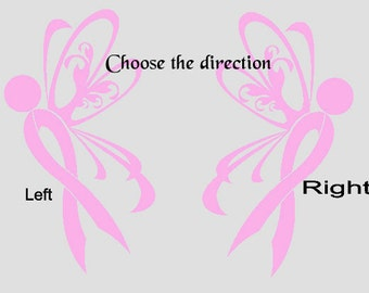 Cancer/support Ribbon with Wings, Awareness, Support, Vehicle Window Decal, Laptops, Motorcycles and more