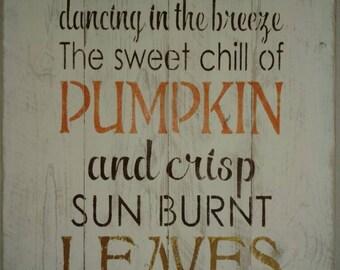 Autumn, pumpkin, leaves. Perfect Fall pallet sign.
