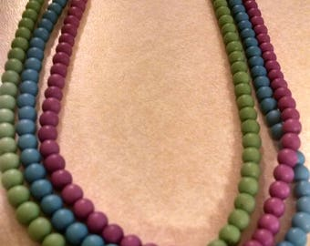 Pretty Multi Strand Necklace, Gifts Under 15.00, Gifts for Her, Necklaces, Beaded Necklaces, Jewelry, Multi Strand - Green, Blue,Purple Tone