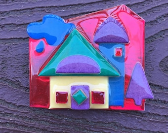 Vintage Lucinda Colorful House Pin Brooch