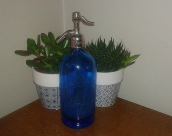 great old advertising Bistro blue water glass siphon Seltzer