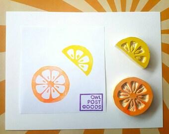 Set de fruité agrumes timbre en caoutchouc - plein ou un morceau de citron, ou 2 demi - citron, lime, pamplemousse, orange, fruits