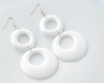 Mod earrings, White Hoop earrings, Mod white earrings, Vintage 60s earrings, Mod Dangle earrings, Handmade Earrings