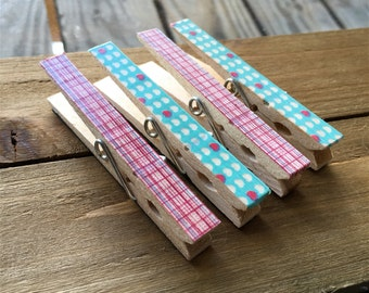 Pink and Teal Clothespin Magnets, Decorated Magnets, Patterned Clothespins, Set of Four