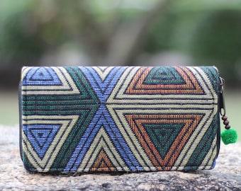 Triangle Geometric Women's Wallet    Long  Wallet     Vegan wallet     Hippie Wallet     wallet    Purse    Fabric Wallet   Vegan Zip wallet