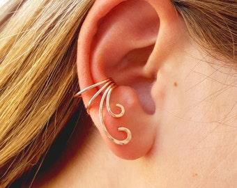 Gold Ear Cuff, 14K Rose Gold Filled,  No Pierce Fancy Ear Cuff