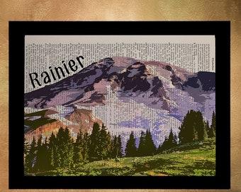 SALE -- Mt Rainier Dictionary Art Print Seattle Washington Pacific Northwest Wall Art Home Decor Travel Poster da946
