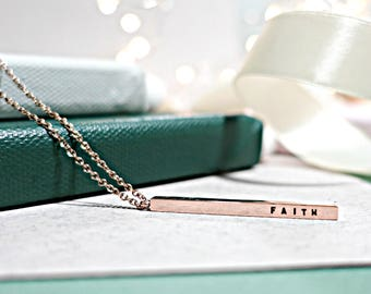 Skinny Bar Necklace (Rose Gold)