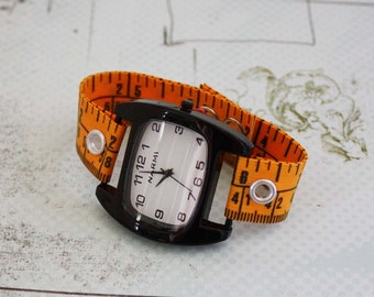 Tape Measure Watch - Black Narmi Face - Statement Jewelry created with Upcycled Measuring Tape