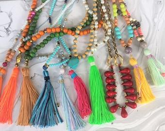 Super Sale! -Long Tassel Necklaces -Long Beaded Tassel Necklace - Boho Jewelry -  Tassel Jewelry