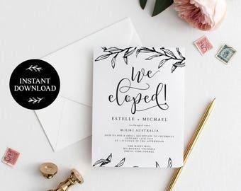 We Eloped! Elopement Editable pdf Template, INSTANT DOWNLOAD, Elopement Announcement, Wedding Elope Invitation Printable - Ella