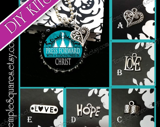 DIY KITS Bottlecap with Charm Young Women YW 2016 Press Forward theme. Necklace craft kit.