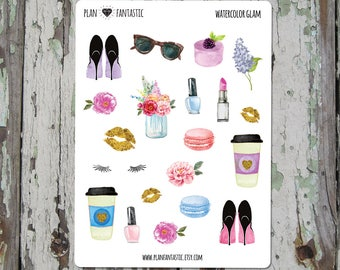 Watercolor Glam Planner Stickers  - Fashion Bullet Journal Sticker Set