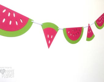 Watermelon Garland. Bright Pink & Lime Green. Photo prop. Party decorations, first birthday party, Tutti fruiti, bunting, banner.