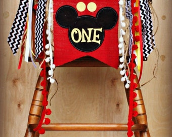 mickey mouse birthday party highchair banner high chair  rh   etsy com