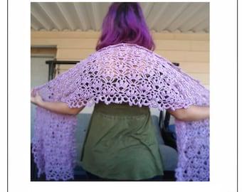 Crocus Wrap Crochet Pattern, Bohemian Floral Lace Stole Pattern, Crochet Lace Wrap Pattern, PDF CROCHET PATTERN