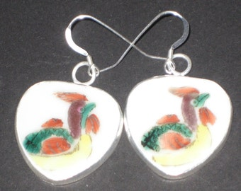 Roosters - Chinese Pottery Shard Earrings on Sterling Silver earwires