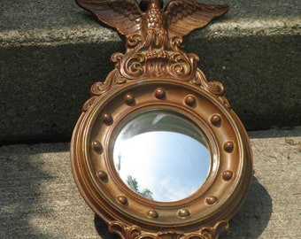 federal style convex eagle mirror bullseye mirror hard plastic port hole style early american
