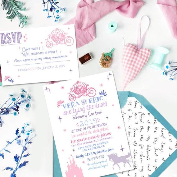 Wedding Invitations Disney: Princess Prince King And Queen Disney Wedding Invitation PDF