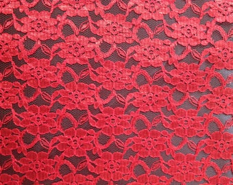 "Fabric red ""Elena"" lace - sold by the metre"