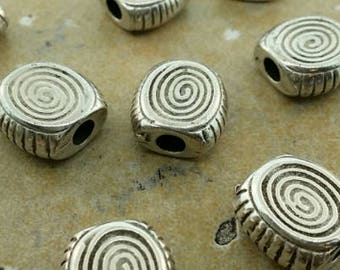 Chunky spiral silver beads