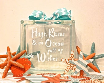 """Guest Book Wish Block - Glass Block with """"Hugs, Kisses and an Ocean full of Wishes"""" - Wedding or Baby Shower - Paper Shells & Starfish"""