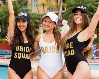 Bride Squad One Piece Swimsuit-Bachelorette Bathing Suit-Bride Bathing Suit-Bride Swim-Squad Swimsuit-Bachelorette Party Bathing Suits
