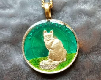 Turkey - Cat Coin Pendant - Hand Painted