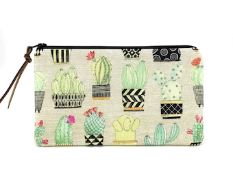 Cactus Pencil Pouch - Zippered Bag - Notions Pouch - Cactus Zipper Pouch - Cell Phone Wallet - Cosmetic Bag - Padded Pouch