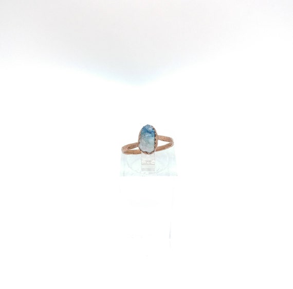Raw Crystal Ring | Raw Tourmaline Ring | Copper Ring Sz 5.5 | Rough Tourmaline Ring | Rustic Womens Ring | Blue Pink Tourmaline Crystal Ring