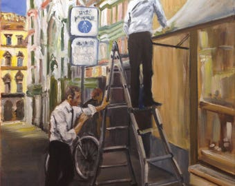 Original Painting.  OOAK.  Two Men and a Ladder