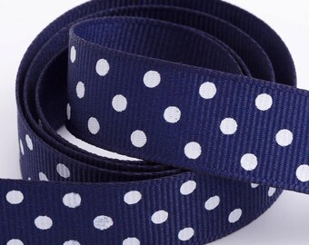 Full Reel Polka Dot Grosgrain Ribbon Ribbon 15mm x 10m - Navy Blue