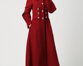 Red wool coat, Long coat, military Coat, maxi coat, Women coat, winter coat, designer coat, warm coat, wool coat women, wool clothing 1118