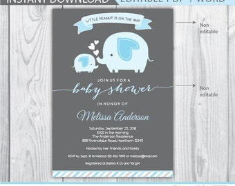 elephant baby shower invitation, elephant baby shower invitation boy, baby shower elephant invitation, little peanut baby shower, instant