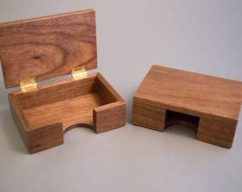 Business card box etsy walnut business card box reheart Images